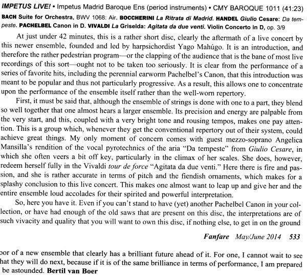 Crítica en Fanfare Magazine
