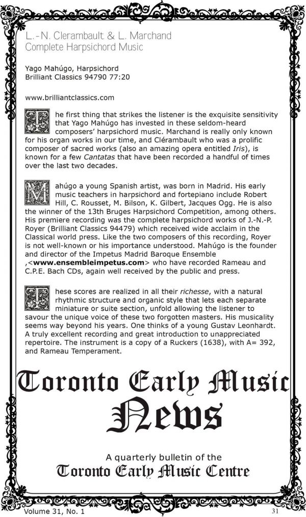 crítica en Toronto Early Music News